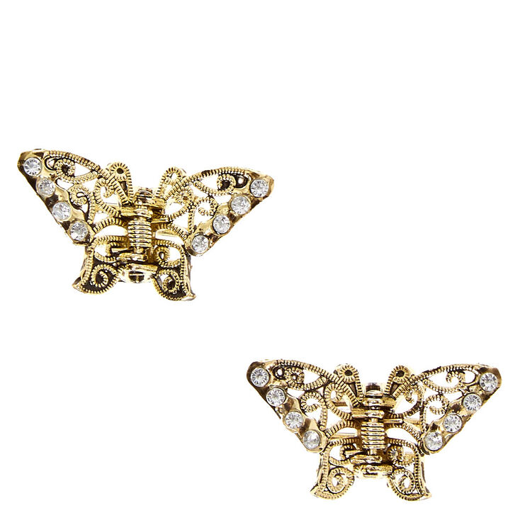 Rustic Gold Toned Butterfly Hair Clips,