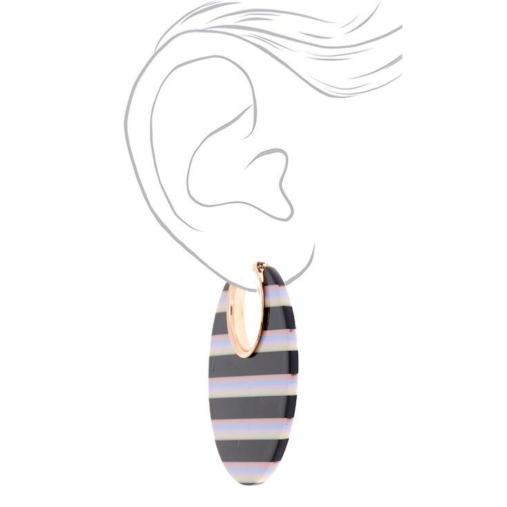 Rose Gold 55MM Striped Thick Hoop Earrings - Black,