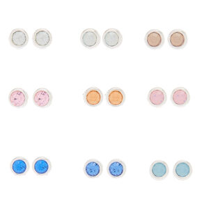 Pastel Faux Crystal Stud Earrings - 9 Pack,