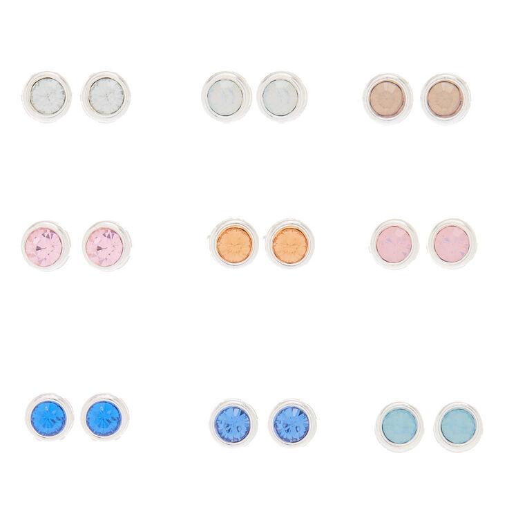 Pastel Faux Crystal Stud Earrings - 9 Pack,