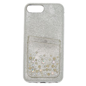 Embellished Card Pocket Phone Case - Fits iPhone 6/7/8 Plus,