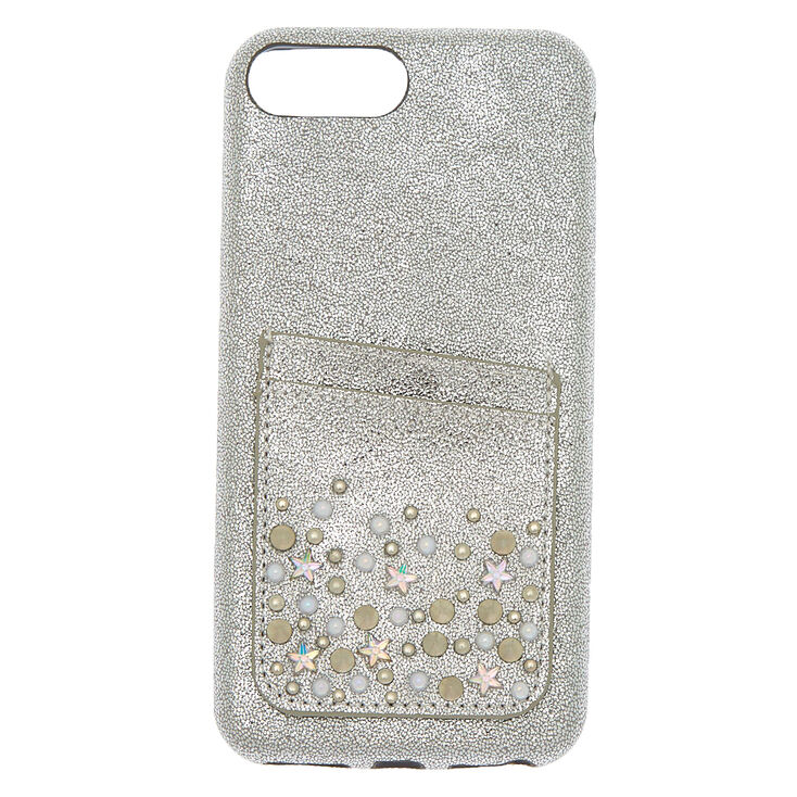 Embellished Card Pocket Phone Case - Silver,