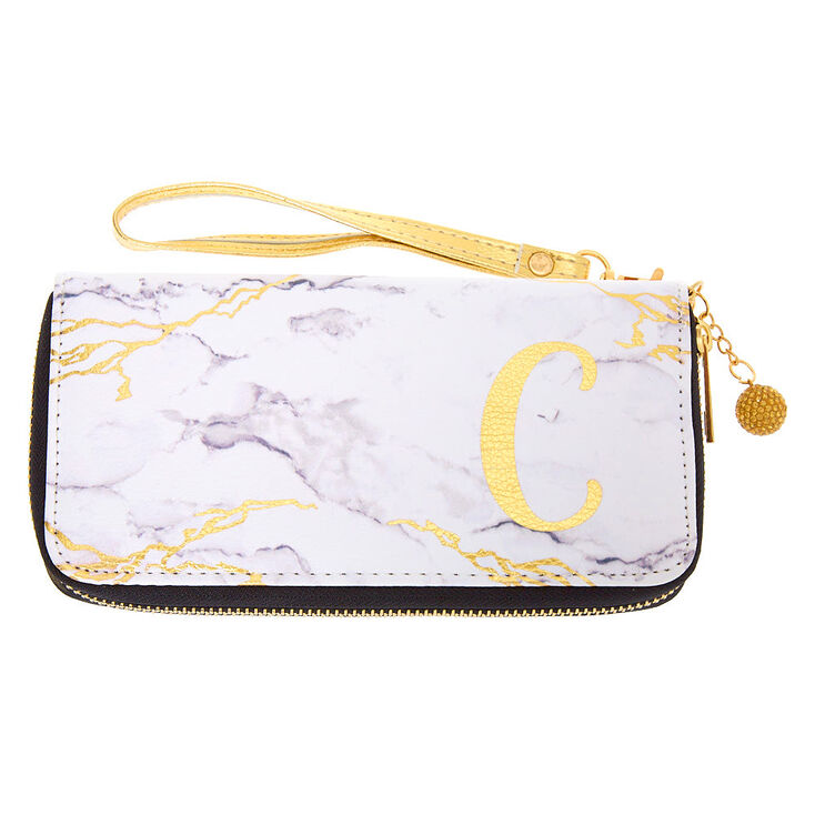 Marble Initial Wristlet - C,