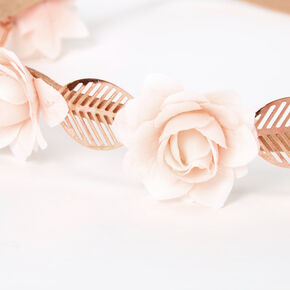 Rose Gold Flower Leaf Headwrap - Blush Pink,