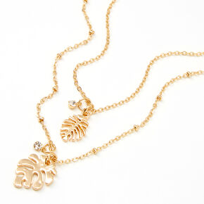 Gold Palm Leaf Multi Strand Pendant Necklace,