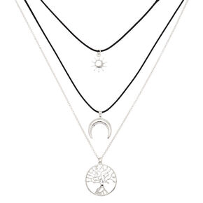 Silver Tree Of Life Multi Strand Necklace,