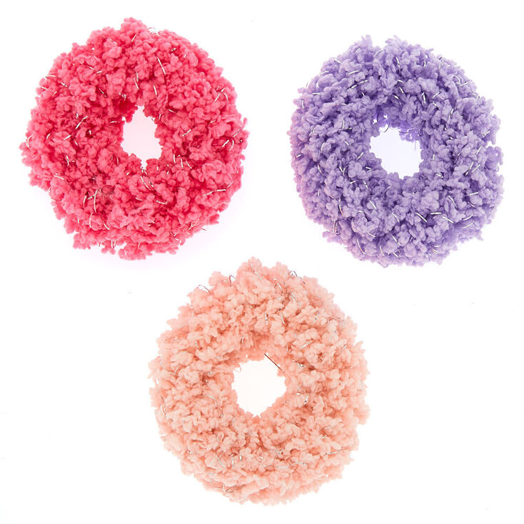 Fuzzy Glitter Hair Scrunchies - Pink, 3 Pack,