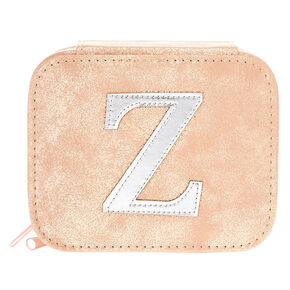 "Blush Pink ""Z"" Initial Jewelry Case,"