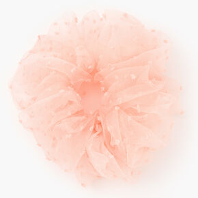 Giant Swiss Dot Sheer Hair Scrunchie - Blush Pink,