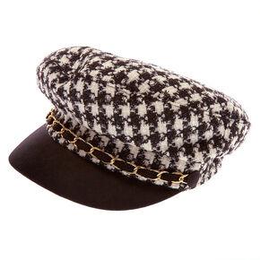 Houndstooth Captain Hat - Black,