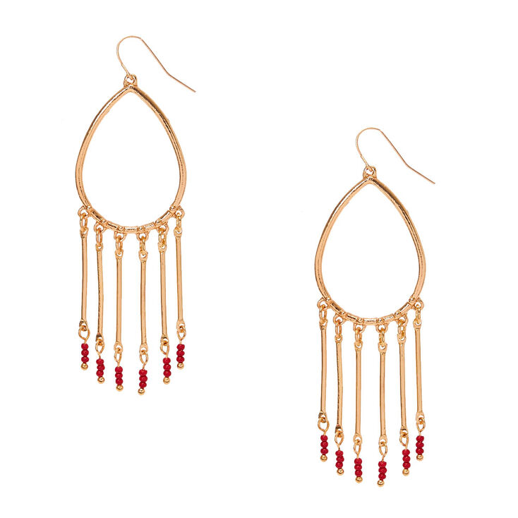 Gold Tear Drop with Red Seed Beads Drop Earrings,