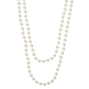 """60"""" White Pearl Necklace,"""