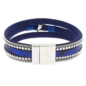Embellished Feather Charm Wrap Bracelet - Navy,