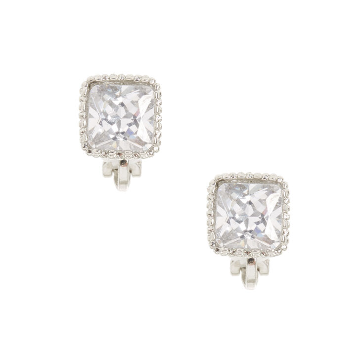 8mm Square Cut Cubic Zirconia Clip On Stud Earrings
