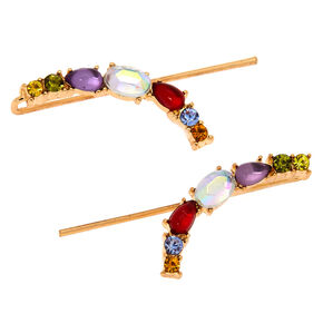 Gold 25 MM Crystal Ear Crawler Earrings - Rainbow,