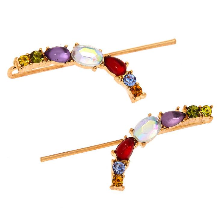 Gold 25 MM Crystal Ear Crawler Earrings,