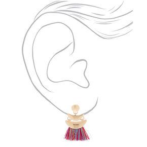 """Gold 1"""" Tassel Drop Earrings - Rainbow,"""