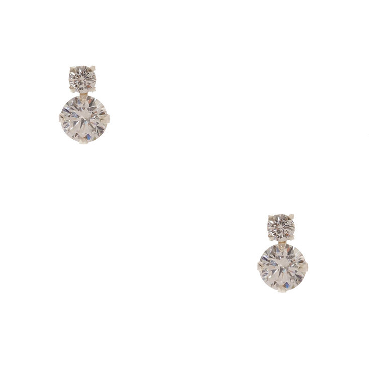 925 Sterling Silver Stacked Cubic Zirconia Earrings,
