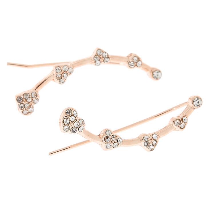"Rose Gold 1"" Crystal Heart Ear Crawler Earrings,"