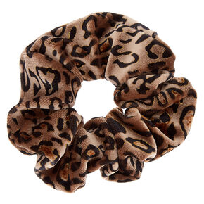 Leopard Velvet Hair Scrunchie - Brown,