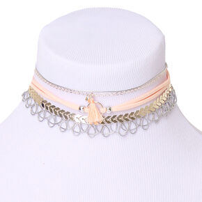Silver Mixed Choker Necklaces - Blush Pink, 5 Pack,