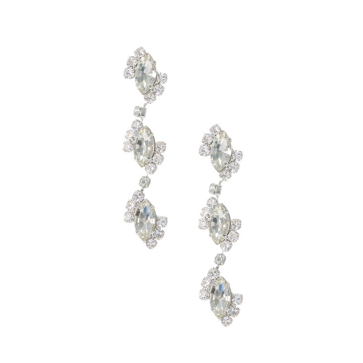 Marquis Crystal Trio Drop Earrings,