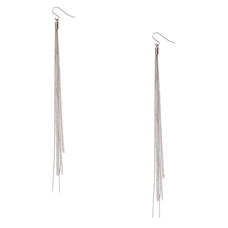 Silver-Tone Long Multi-Strand Drop Earrings,