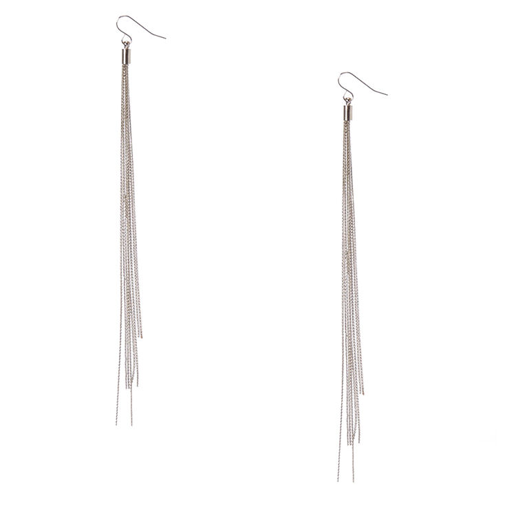 Silver Tone Long Multi Strand Drop Earrings