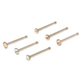 Silver 20G Spring Stone Nose Studs - Champagne, 6 Pack,
