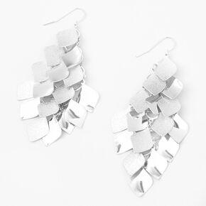 """Silver 3"""" Diamond Chandelier Drop Earrings,"""
