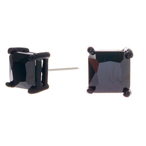 Cubic Zirconia 7MM Square Stud Earrings - Black,