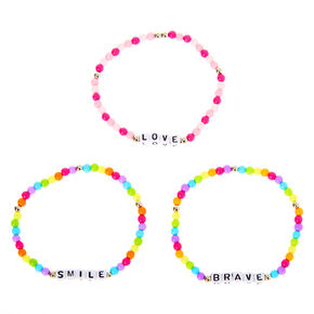 Positive Vibes Rainbow Beaded Stretch Bracelets - 3 Pack,