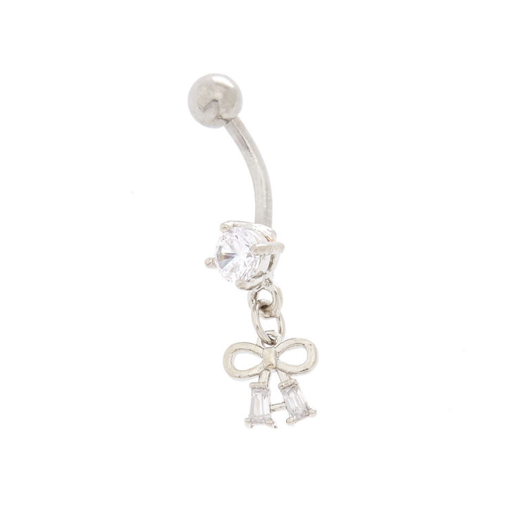 Cubic Zirconia 14G Mini Silver Bow Belly Ring,