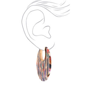Gold 55MM Resin Striped Thick Hoop Earrings,