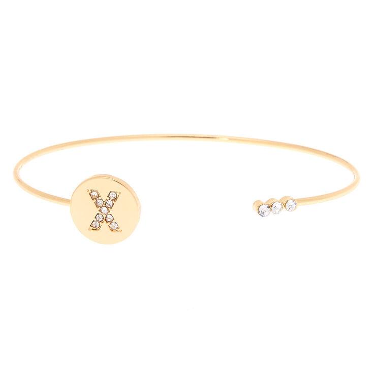 Gold Initial Cuff Bracelet - X,