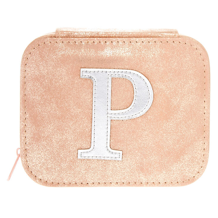 "Blush Pink ""P"" Initial Jewelry Case,"