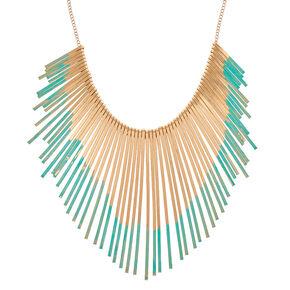 Mint & Gold Bar Bib Necklace,