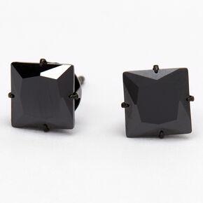 Black Titanium Cubic Zirconia Square Stud Earrings - 7MM,