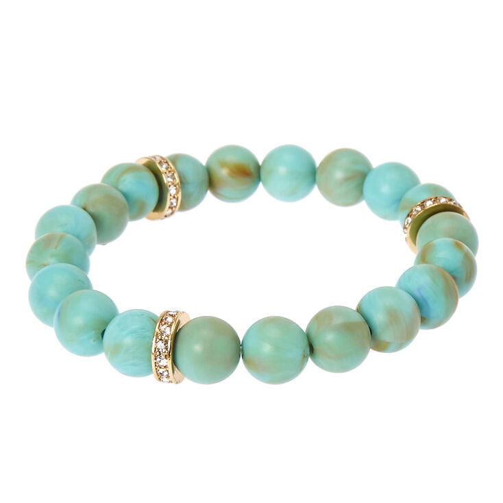 Turquoise Beaded Stretch Karma Bracelet,