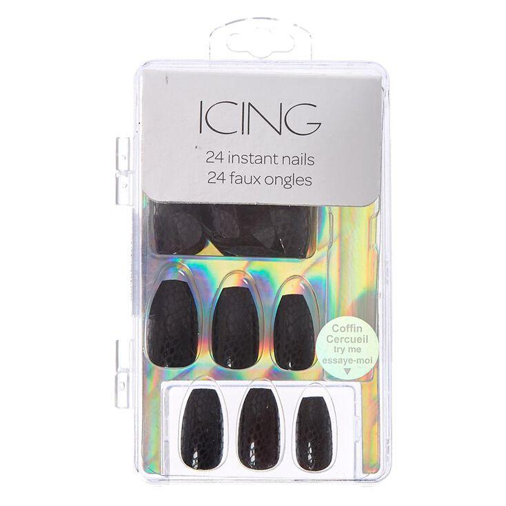 Matte Black Snake Skin Instant Nails,
