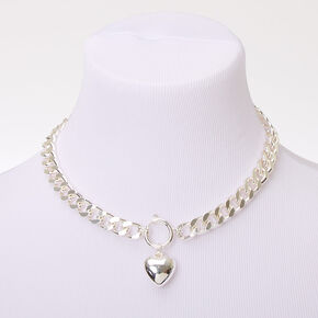Silver Heart Pendant Chain Necklace,