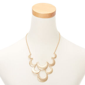 Gold Crescent Moon Statement Necklace,