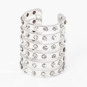 Silver Six Row Crystal Ear Cuff,