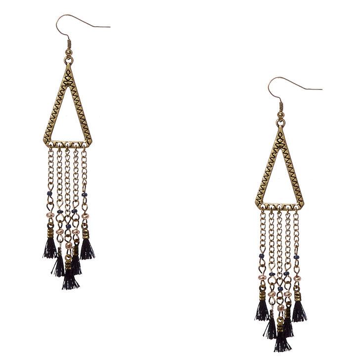 Gold Tone Open Triangular & Tassel Fringe Drop Earrings,