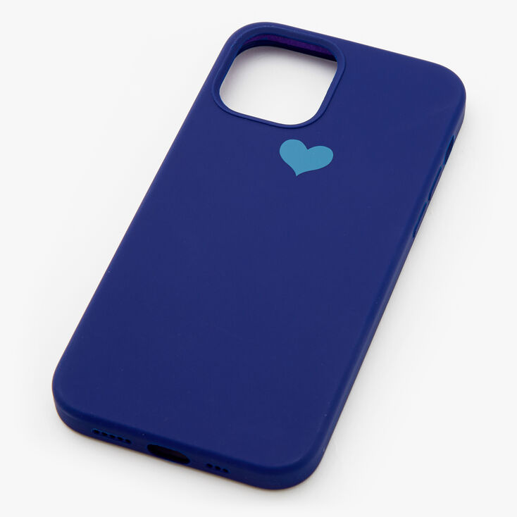 Navy Heart Protective Phone Case - Fits iPhone 12/12 Pro,