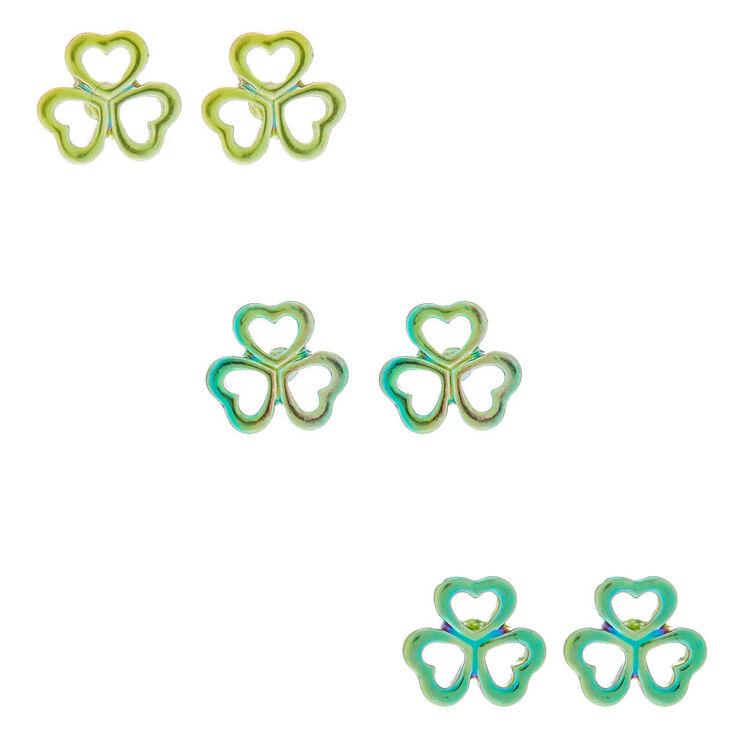 Silver Shamrock Stud Earrings - Green, 3 Pack,