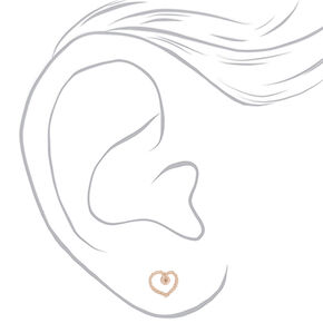 Rose Gold Rope Heart Stud Earrings,