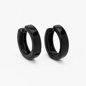 Black 15MM Huggie Hoop Earrings,