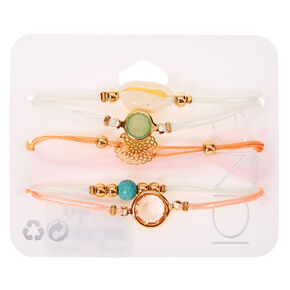 Pastel Cowrie Shell Adjustable Bracelets - 5 Pack,