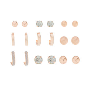 9 Pack Rose Gold-Tone Earring Set,